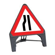 CuStack Road Narrows Nearside Triangular Sign - 600mm