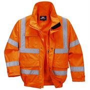 Rail Waterproof Breathable Hi Vis Class 3 Orange Extreme Bomber Jacket - 200gsm