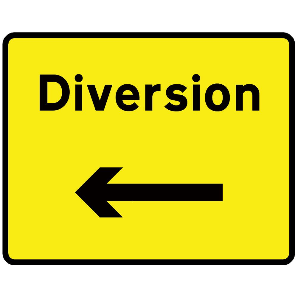 Diversion Left Metal Road Sign Plate - 1050 x 750mm