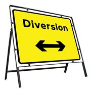 Diversion Left / Right Reversible Clipped Metal Road Sign - 1050 x 750mm
