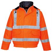 Rail Flame Retardant Anti Static Waterproof Hi Vis Class 3 Orange Multi Protection Bomber Jacket