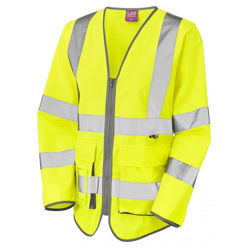 Leo Beaworthy Women's Hi Vis Long Sleeve Superior Zip Yellow Waistcoat