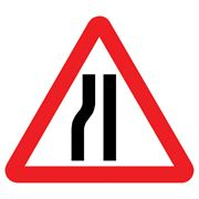 Road Narrows Nearside Triangular Metal Road Sign Plate - 900mm