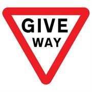Give Way Triangular Metal Road Sign Plate - 600mm