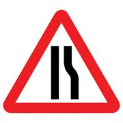 Road Narrows Offside Triangular Metal Road Sign Plate - 1200mm