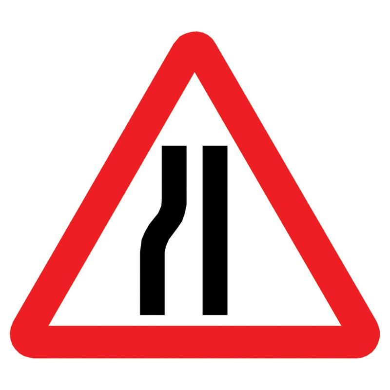 Road Narrows Nearside Triangular Metal Road Sign Plate - 1200mm