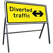 Diverted Traffic Left / Right Reversible Riveted Metal Road Sign - 1050 x 450mm