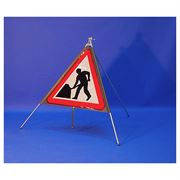 Classic Men at Work Roadworks Triangular Roll Up Road Sign - 750mm