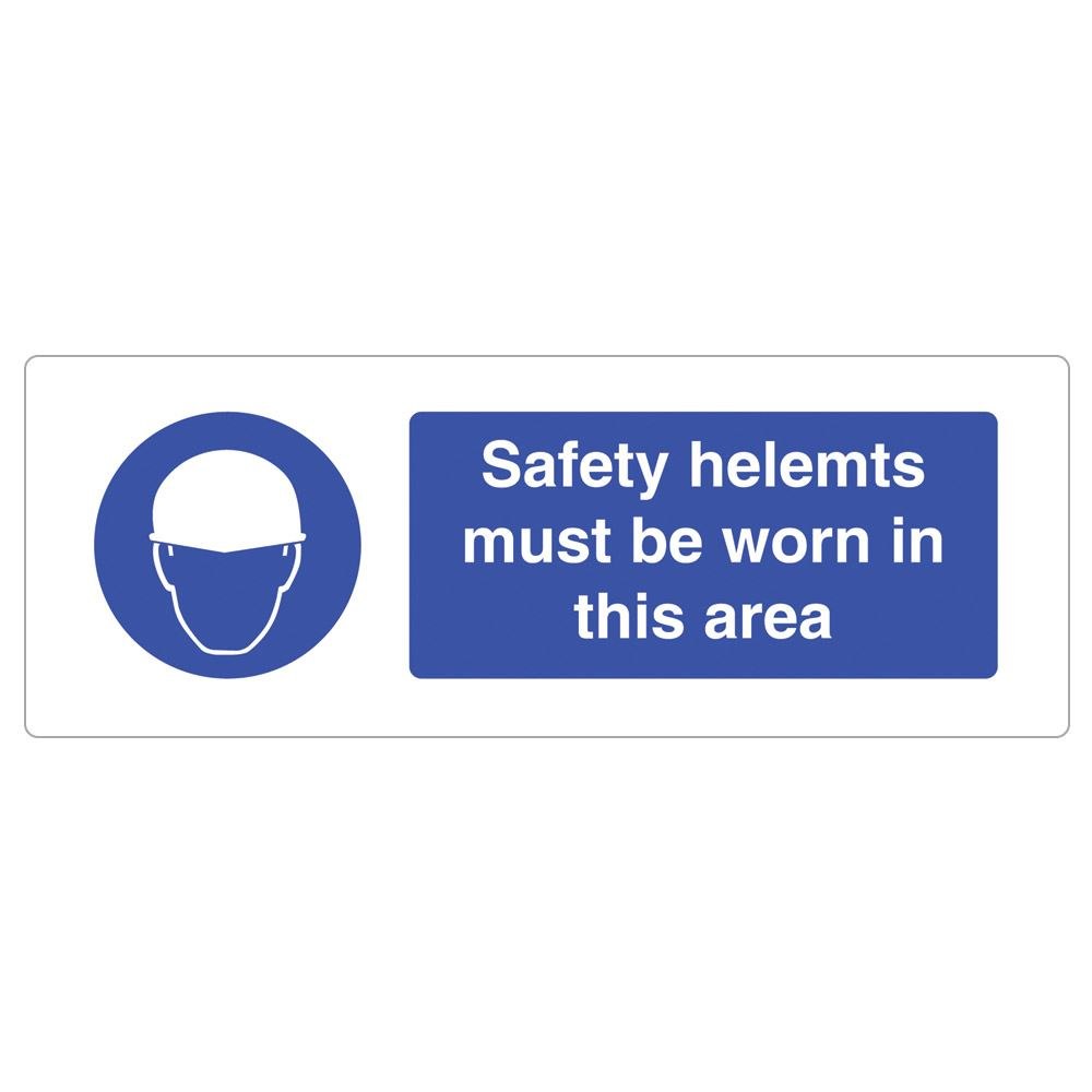 Safety Helmets Must Be Worn In This Area Sign - 600 x 200 x 1mm