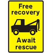 Free Recovery Await Rescue Traffic Management Sign