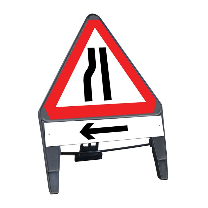 CuStack Road Narrows Nearside Triangular Sign with Arrow Left Supplement Plate - 750mm