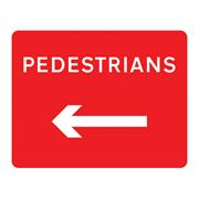Pedestrians Left Metal Road Sign Plate - 600 x 450mm