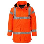 Multi Lite Rail Flame Retardant Anti Static Waterproof Breathable Hi Vis Class 3 Orange Jacket