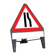 CuStack Road Narrows Offside Triangular Sign with Supplement Plate - 750mm