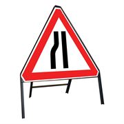 Road Narrows Nearside / Offside Reversible Riveted Triangular Metal Road Sign - 750mm