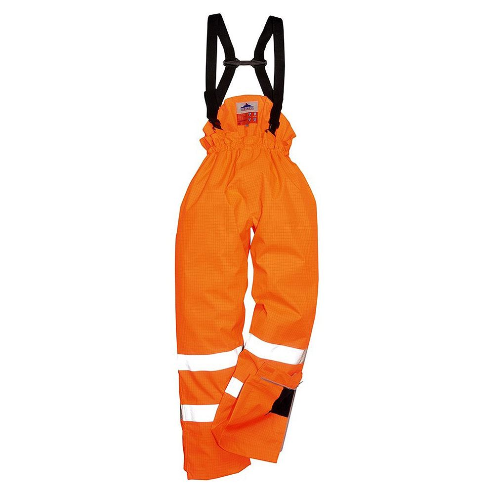 Rail Flame Retardant Anti Static Waterproof Breathable Hi Vis Class 1 Orange Unlined Bib and Brace
