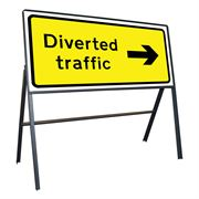 Diverted Traffic Right Riveted Metal Road Sign - 1050 x 450mm