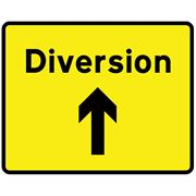 Diversion Ahead Arrow Metal Road Sign Plate - 1050 x 750mm