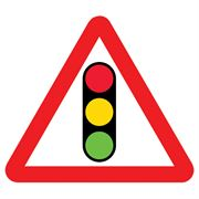 Traffic Signals Triangular Metal Road Sign Plate - 600mm