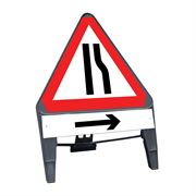 CuStack Road Narrows Offside Triangular Sign with Arrow Right Supplement Plate - 750mm