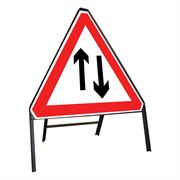 Two Way Traffic Riveted Triangular Metal Road Sign - 750mm