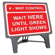 CuStack 4 Way Control, Wait Here Until Green Light Shows Sign - 1050 x 750mm