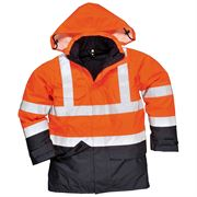 Bizflame Rail Waterproof Breathable Hi Vis Class 3 Orange Multi Protection Jacket