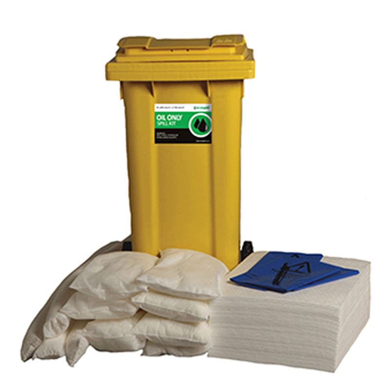 Ecospill Oil Only Spill Response Kit - 2 Wheel PE Bin - 120 Litre
