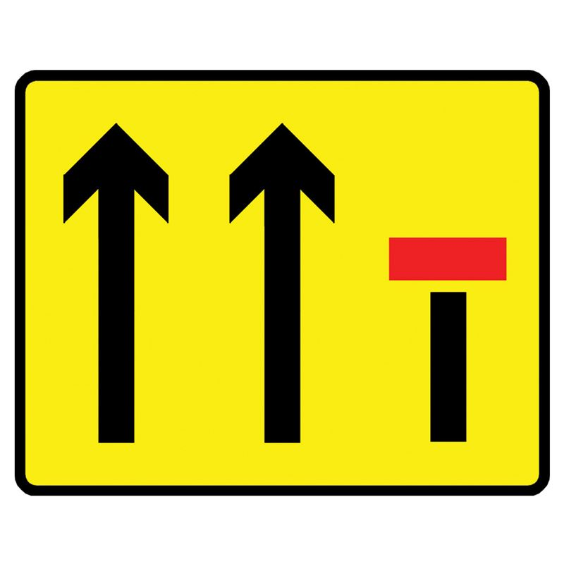 Lane Closure 3 Lanes Metal Road Sign Plate - 1100 x 900mm