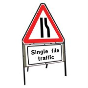 Road Narrows Offside Clipped Triangular Metal Road Sign with Single File Traffic Supplement Plate - 750mm