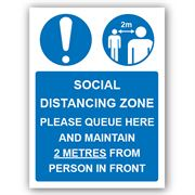 Social Distancing Zone Please Queue Here PVC Sign - 300mm x 400mm x 1mm