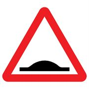 Humps Triangular Metal Road Sign Plate - 900mm