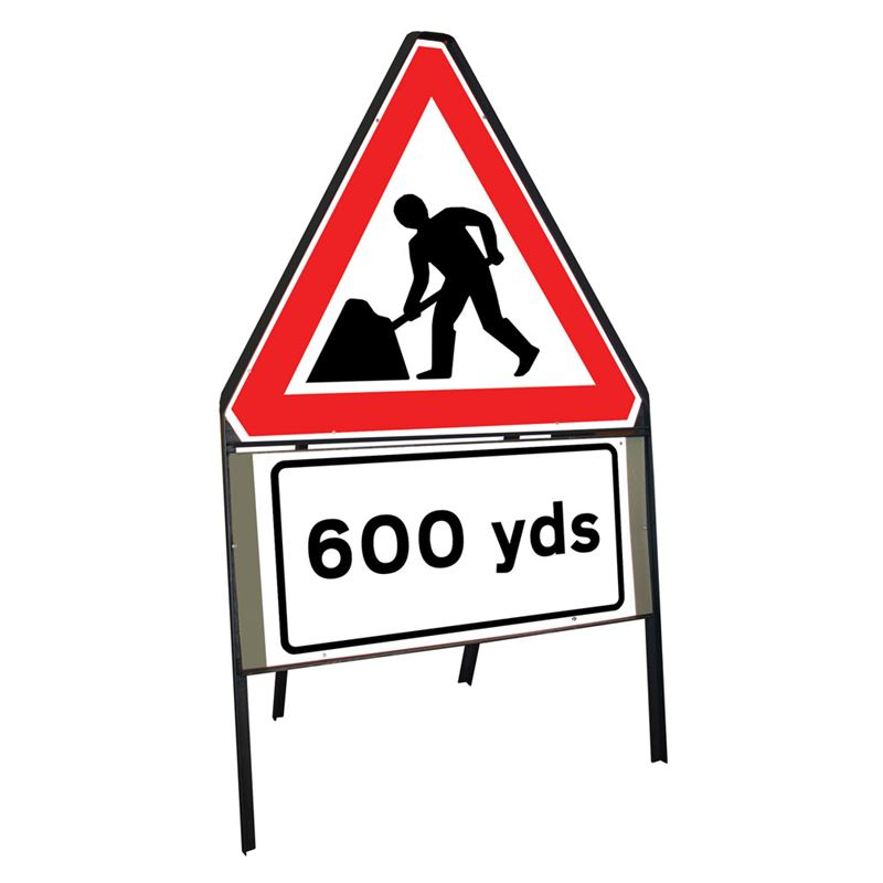 Men at Work Roadworks Riveted Triangular Metal Road Sign with 600 Yards Supplement Plate - 900mm