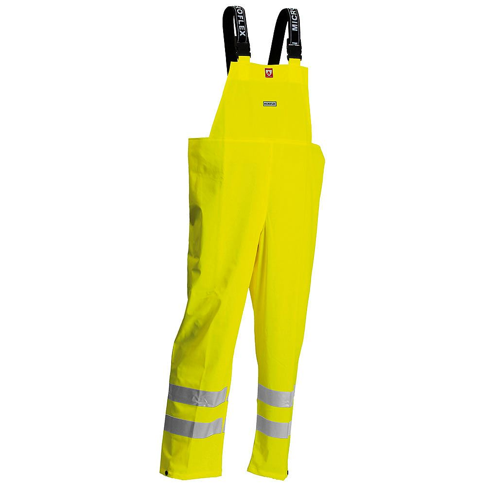 Lyngsoe Rainwear Flame Retardant Anti Static Waterproof Hi Vis Bib Trousers - Saturn Yellow