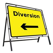 Diversion Left Clipped Metal Road Sign - 1050 x 750mm