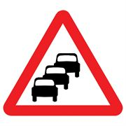 Queues Likely Triangular Metal Road Sign Plate - 900mm
