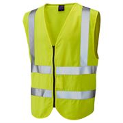 Leo Harracott Flame Retardant Anti Static Hi Vis Class 2 Zip Yellow Waistcoat