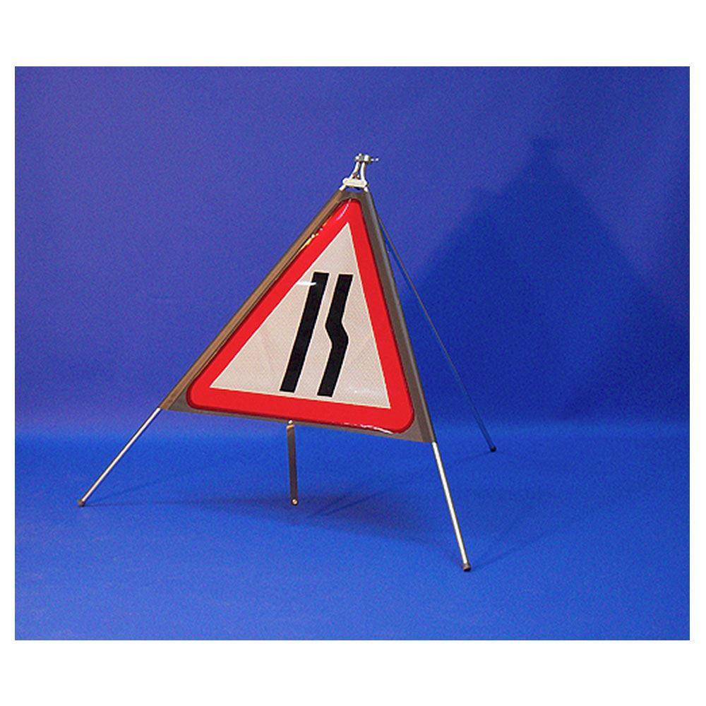 Classic Road Narrows Offside Triangular Roll Up Road Sign - 750mm