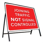 Joining Traffic Not Signal Controlled Riveted Metal Road Sign - 1050 x 750mm