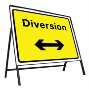 Diversion Left / Right Reversible Riveted Metal Road Sign - 1050 x 750mm