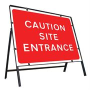 Caution Site Entrance Clipped Metal Road Sign - 1050 x 750mm
