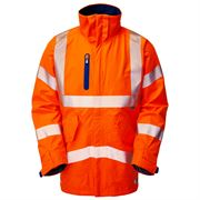 Leo Marisco Rail Waterproof Breathable Hi Vis Class 3 Orange High Performance Anorak