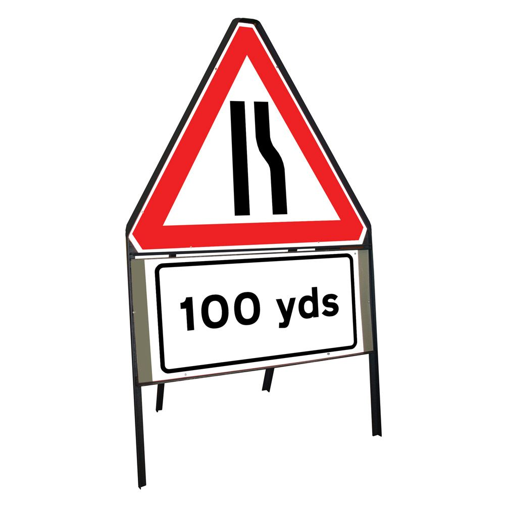Road Narrows Offside Riveted Triangular Metal Road Sign with 100 Yards Supplement Plate - 900mm