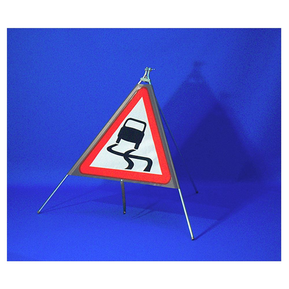 Classic Slippery Road Triangular Roll Up Road Sign - 750mm