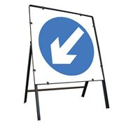 Keep Left Clipped Square Metal Road Sign - 900mm