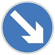 Arrow Blue Circular Metal Road Sign Plate - 750mm
