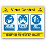 Virus Control PVC Sign - 400mm x 300mm x 1mm