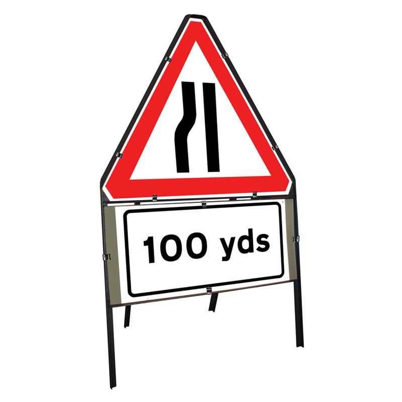 Road Narrows Offside Clipped Triangular Metal Road Sign with 100 Yards Supplement Plate - 750mm