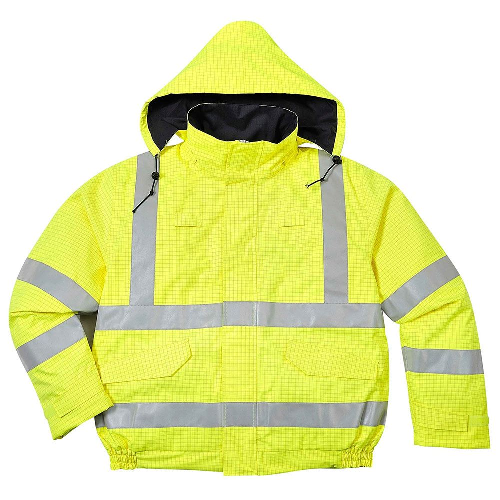 Flame Retardant Anti Static Waterproof Hi Vis Class 3 Multi Protection Yellow Bomber Jacket